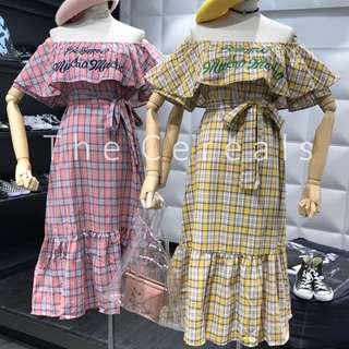 TC2355 Korea Checker Wording Embroidered Dress (Yellow,Red)