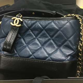 Chanel Navy Blue Hobo Small