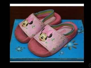 🚚 二手童鞋 迪士尼 米妮  拖鞋 涼鞋~13cm