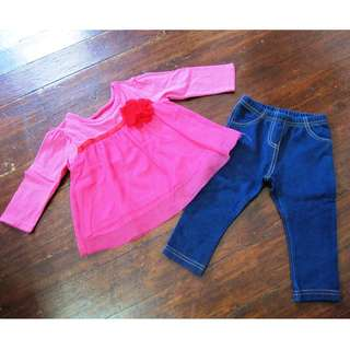 Jeggings & Pink Top Set Mothercare TCP