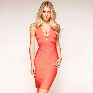 IMPORTED Peach Bandage Dress