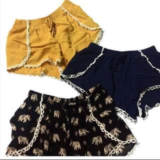 Comfy boho shorts take all for 250.