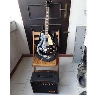 SX les paul type black electric guitar with NUX Frontline 8 guitar amp