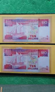 Singapore Ten Dollar Notes - Cutting Error