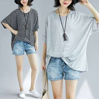 2018 Summer Plus Size Stripe Loose Short Sleeve T-Shirt