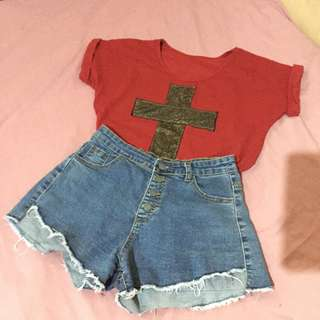 red top w gold shimmery cross | great for a day out