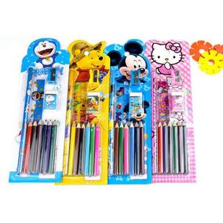 Cute cartoon Stationery Set with colour pencils