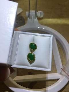 18k 750 翡翠耳環