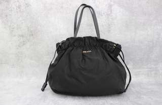PRADA BT0159 Black Nylon Logo Jacquard Drawstring Shoulder Bag