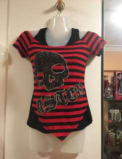 Red & Black stripes layered skull top