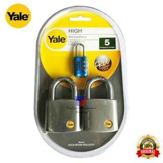 Yale Y120/50/127/2 Satin Chrome Padlock/Mangga Keyed Alike System -50mm x 2pcs