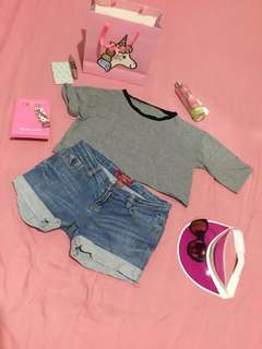 Cropped top and Maong shorts bundle