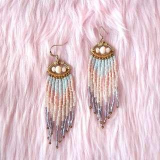 Pastel Beaded Fringe Earrings