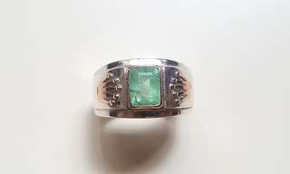 ( FOR SALE ) Natural Colombia Emerald 925 Silver/Rose Gold Super Custom-Made Ring