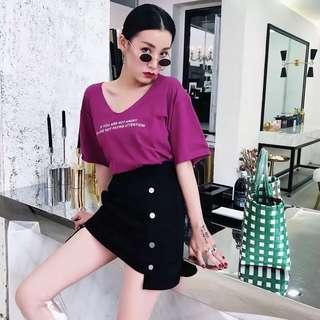 Minimei追加款✪韓系韓版歐美風百搭休閒短袖撞色字母印花螢光色寬鬆V領T恤女
