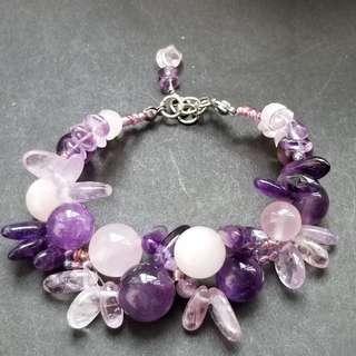 狗牙紫水晶+粉晶       Hand made
