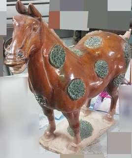 古董陶瓷馬 擺設一對