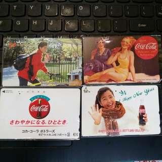 Japan 日本 Coca Cola 可樂電話咭 4張B款