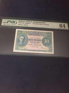 1941 Malaya 10 cents Pmg 64