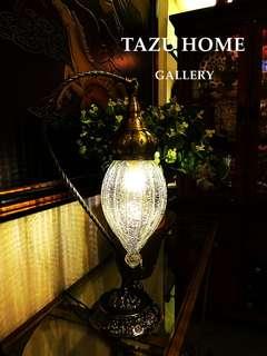 土耳其工藝復古冰裂紋玻璃特色型格華麗座台燈. 25X25X58CM