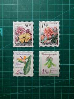 1980 捷克斯洛伐克 花卉展覽 新票一套