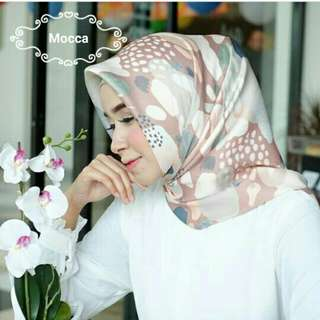 Realpict ! Hijab maxmara motif cantik warna pastel mocca murah/Segiempat motif/Jilbab pesta/gamis/atasan/mukena/blouse/voal/ruby/organza/pashmina