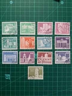 1970-80年代 東德 通用郵票 舊票12枚