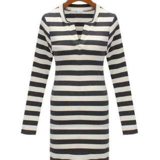 Grey White Stripe Dress
