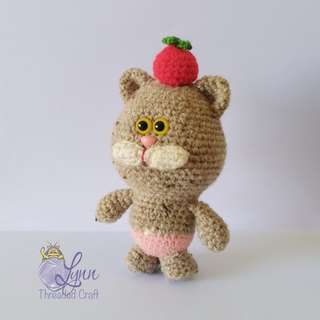 Cat Jolly Meow Key chain Crochet Amigurumi Sand Colour