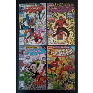 Amazing Spider-Man #340,#341,#342,#343 (1990, 1st Series) Set of 4,Powerless! Guest-starring The Black Cat!
