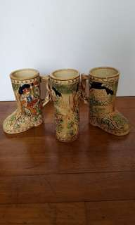 Vintage shoe shaped beer mugs