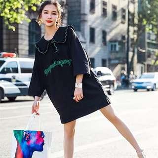 Minimei追加款✪韓系韓版歐美風百搭休閒 夏減齡寬鬆荷葉邊娃娃領學院風短袖T恤連衣裙女