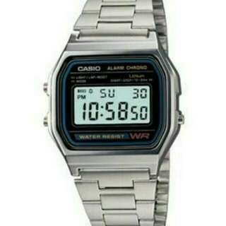 Brand New AUTHENTIC CASIO CHRONO SILVER STAINLESS STEEL A158WA-DF