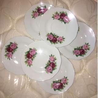6pcs of Saucer/Small Plate (Roses)