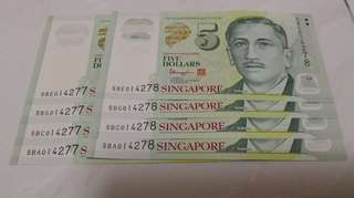 Portrait $5 notes 4 same series number with 2 runs