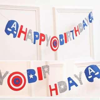 Captain America Happy Birthday Banner