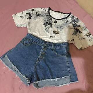 bird printed flowy top, shorts