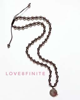 Smoke quartz adjustable necklace with ohm