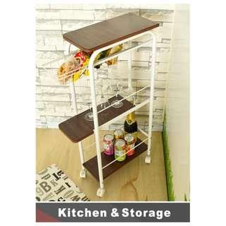 【已售完】【Smart Storage】Home Storage 和風主義多用途收納三重奏-和風主義附輪塞縫收納架-胡桃1入