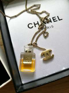 💯AUTHENTIC No.5 perfume necklace CHANEL gold chain no 5 No. Mini perfume parfume