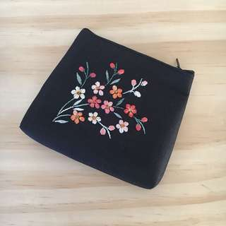 Navy Floral Embroidered Coin Purse