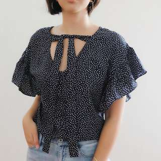 B19 NAVY BLUE POLKA RUFFLE SLEEVES
