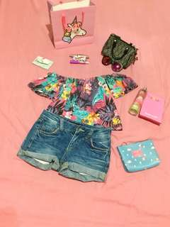 Off shoulder and maong shorts BUNDLE