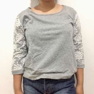 Gray w/ Lace detail Sweater