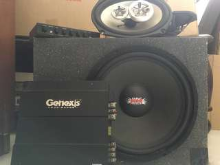 1 pair Mohawk speaker, 1 subwoofer, genexis 1500 watt amplifier, rock fox equalizer