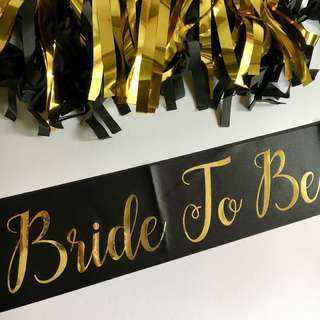 Bride To Be Satin Sash (Black)