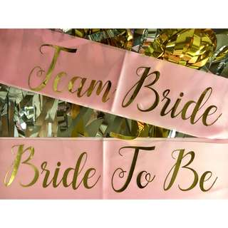Bride To Be / Team Bride Satin Sash (Pink)