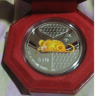 2008 Year of the Rat Coloured Silver Proof Coin