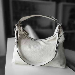Authentic Gucci White Leather Icon Bit Hobo With Horsebit Detail D Ring