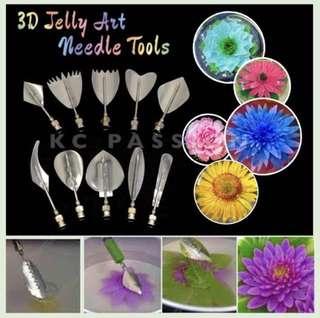 🍮 🍮 11pcs STAINLESS STEEL 3D JELLY + SYRINGE • GELATINE ART NEEDLE TOOL SET for Jelly Cake • Agar Agar • Gelatin • Jello